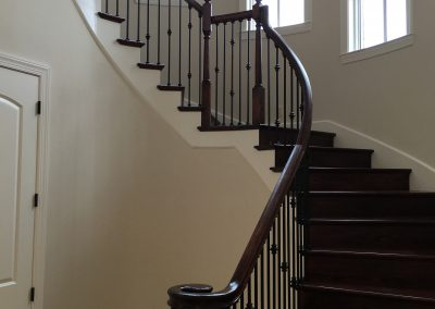Curved Stair Red Oak Risers & Treads Knuckles 1